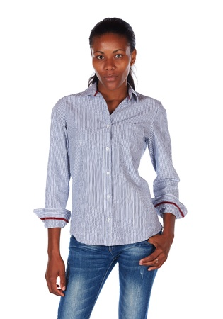 slicked: Pretty black african young adult businesswoman casually dressed in a blue pinstripe office shirt with her hair slicked back into a ponytail and isolated on a white background Stock Photo
