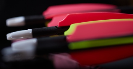 The back fletches of standard compound archery bow arrows. Shallow Depth of field Stock Photo - 19371670