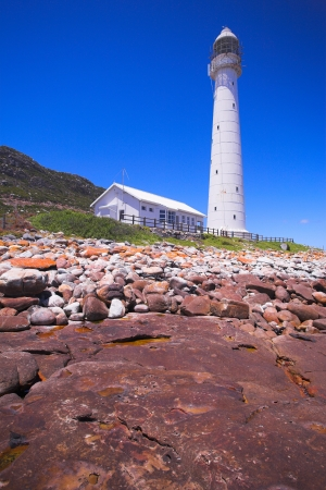 The Historical Slangkop Lighthouse at Kommetjie in the Western Cape, South Africa Stock Photo - 19371852