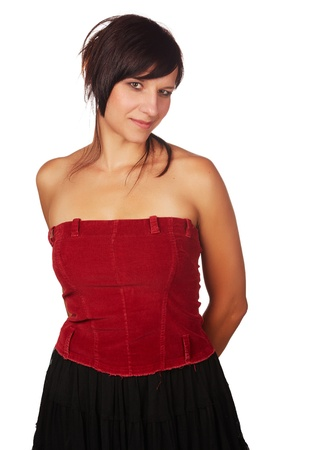 sexy mature women: Beautiful and mature adult caucasian woman with red lips, dark hair and brown eyes wearing a open shoulder red top on a neutral grey and white background