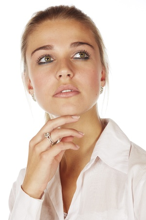 honey blonde: Beautiful young blonde caucasian woman wearing all white and with her hair in a ponytail - On a white background