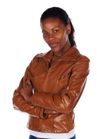 Beautiful black african young adult woman casually dressed in a brown leather jacket Stock Photo - 20335271