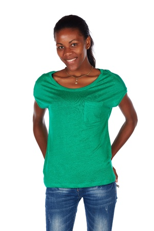 Beautiful black african young adult woman casually Stock Photo - 20334492