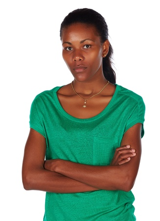 Upset black african young adult woman casually dressed in an emerald green t-shirt Stock Photo - 20334496