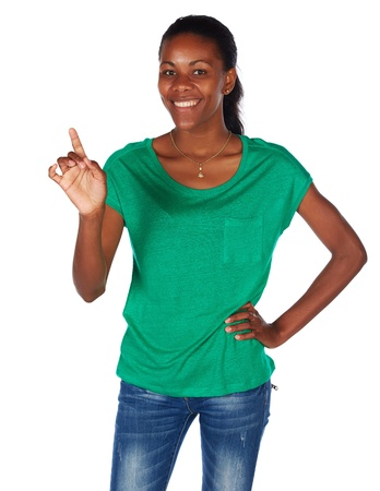 Beautiful black african young adult woman casually dressed in an emerald green t-shirt Stock Photo - 20335124