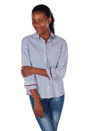 Pretty black african young adult businesswoman casually dressed in a blue pinstripe office shirt Stock Photo - 20334563