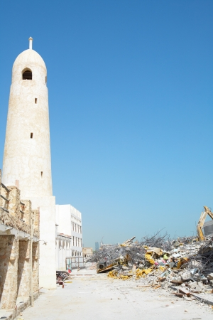 souq: Demolished area next to the plaza in Souq Waqif, the central market in Doha Qatar
