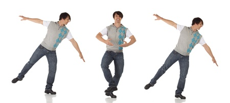 Tap dancer in blue jeans and tap shoes doing a combination of steps on a white background and floor