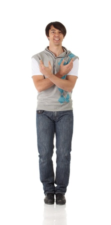 blue jeans: Tap dancer in blue jeans and tap shoes doing steps on a white background and floor
