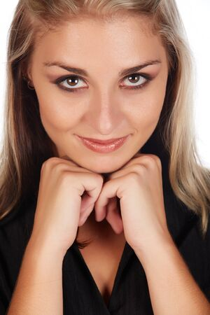 honey blonde: Portrait of a beautiful and sexy young adult caucasian businesswoman with honey blonde hair and brown eyes with natural make-up