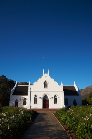 decent: The local church is a great example of Colonial architecture from its dutch decent in Franschhoek, Western Cape, South Africa.