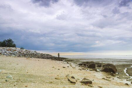 the look of tidy sea at  pantai remis jeram kuala selangor