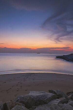 sunset sky at malacca  straits sea