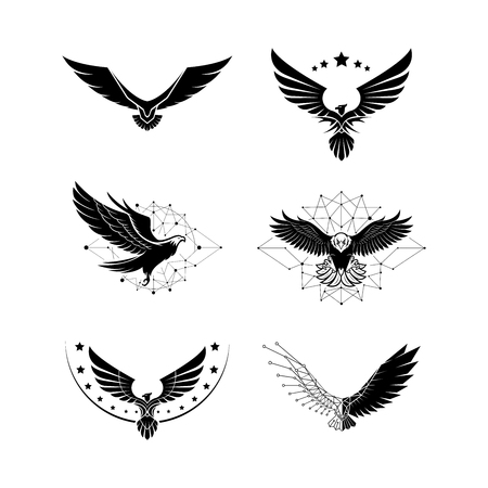 Eagle logo package with future technology concepts - Vector