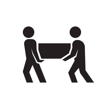 Vector icon of two person lifting crates or boxes