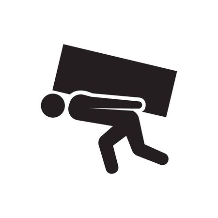 Vector icon of person lifting crates or boxes Ilustracja