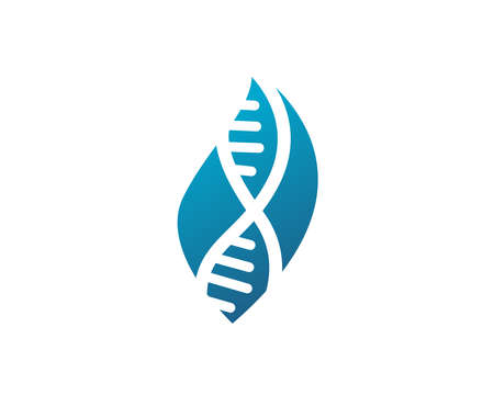Abstract biotechnology leaf DNA logo design. green energy, medicine, science, technology, laboratory, electronics logotype vector icon.