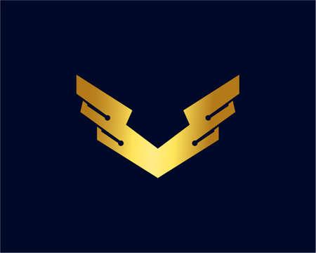 Wing Tech Logo Template Design Vector, Emblem, Design Concept, Creative Symbol, Icon Logo