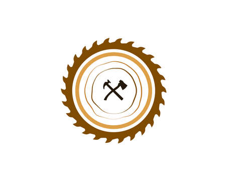 Wood Industries Company logo with the concept of saws and carpentry and classic and vintage style