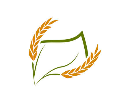 Rice and wheat logo template suitable for businesses and product names. This stylish logo design could be used for different purposes for a company, product, service or for all your ideas.