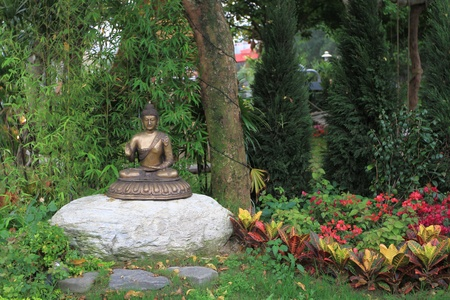 self discovery: Buddhism in garden Stock Photo