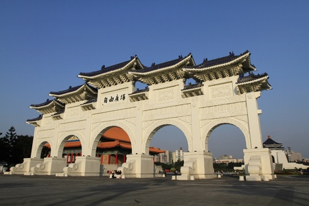 Chinese Style Courtyard Wall In Taiwan,Asia.