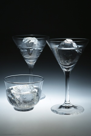Three Glasses With Cold Water Closeup On White Background Stock Photo - 16328799