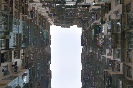 香港舊住宅小區 版權商用圖片 - 19368316