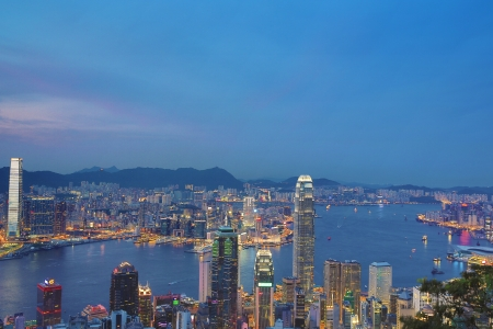 Victoria Harbor Aerial View With Hong Kong Skyline photo