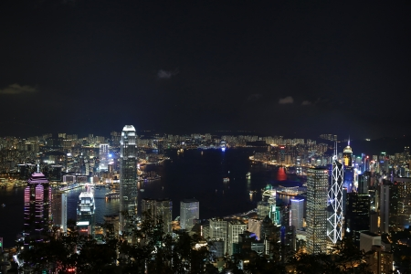 Victoria Harbor Aerial View With Hong Kong Skyline