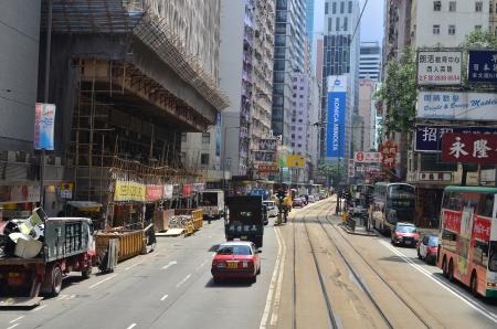wan: tram view of wan chai, hong kong Editorial