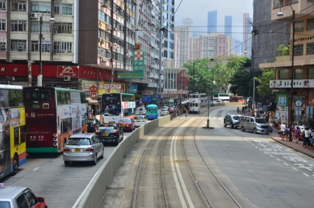 tram view of causeway bay, hong kong