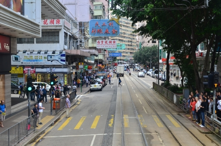 tram view of wan chai , hong kong