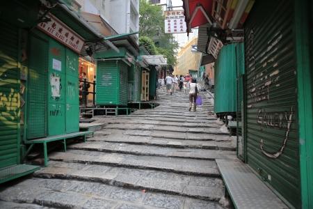 lajas: Losas de piedra, Pottinger Street, hong kong Editorial