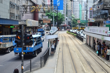 tram view of wan chai, hong kong