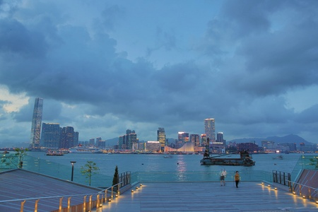 central government: Victoria Harbour view by  Hong Kong Central Government Complex