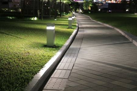 walkway with light Stock Photo