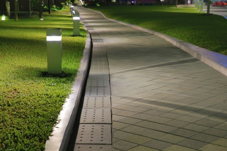 hardscape: walkway with light Stock Photo
