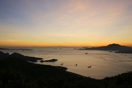 lantau: Tramonto dell'isola di Lantau Archivio Fotografico