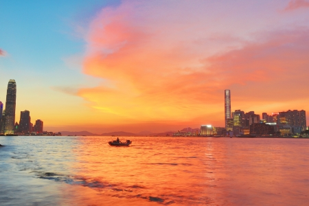 Hong Kong downtown at sunset
