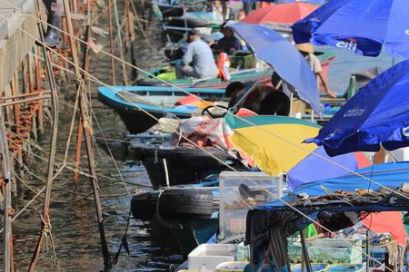 chinese fishing nets: sai kung sea market, hong kong Stock Photo