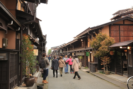 Unidentified people at Sannomachi Street, the old town area which has museums and old private houses, some survive from Edo period 에디토리얼