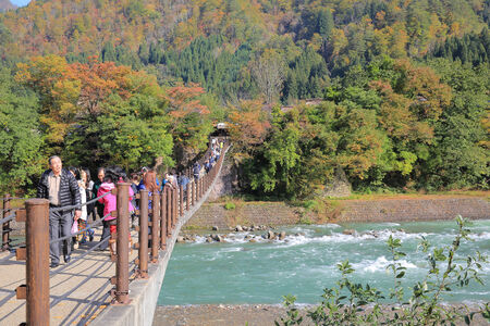 ogimachi:  Bridge To Ogimachi Village Editorial