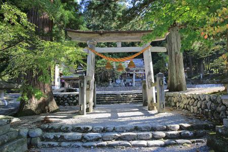 shirakawa go: Stone Torii Gate at Atago  at Shirakawa go Editorial