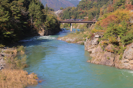 shirakawa go: Beautiful landscape in the Japanese mountains with a wild river, red bridge and rock covered by typical pines Stock Photo