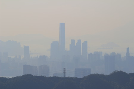 air pollution at hong kong Stock Photo