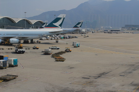 Preparing of airplane for flight in Hong Kong International Airport