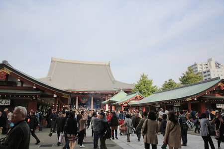Unidentified tourists in the Senso-ji Temple