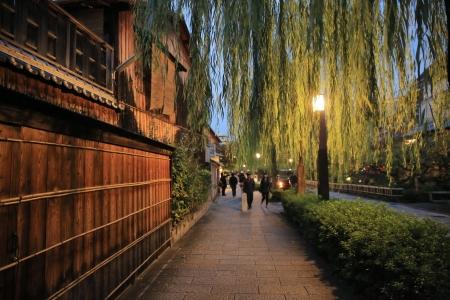 Shirakawa-minami Dori in Kyoto, Japan 스톡 콘텐츠