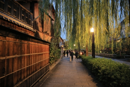 Shirakawa-minami Dori in Kyoto, Japan Stock Photo